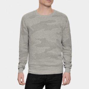 All Saints Laszlo Crew Camo Knit Sweater Gray XL
